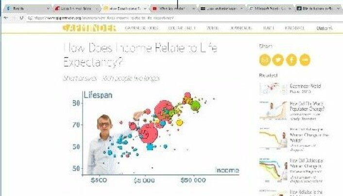 Figure 2. Hans Rosling in the instruction video How Does Income Relate to Life Expectancy?