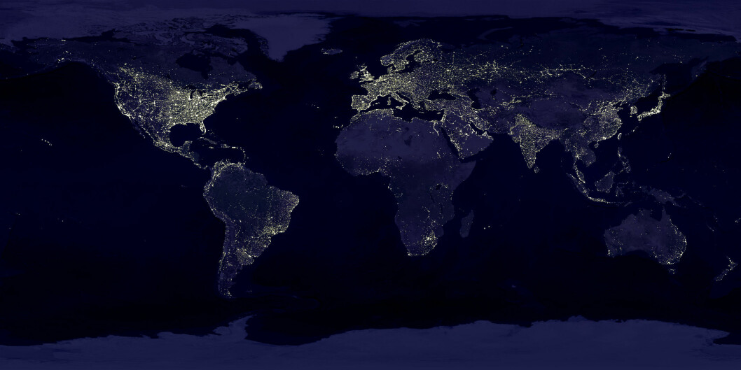 Earth's City Lights, from NASA's Visible Earth catalog. Data from 1994–1995, visualization created in 2000.