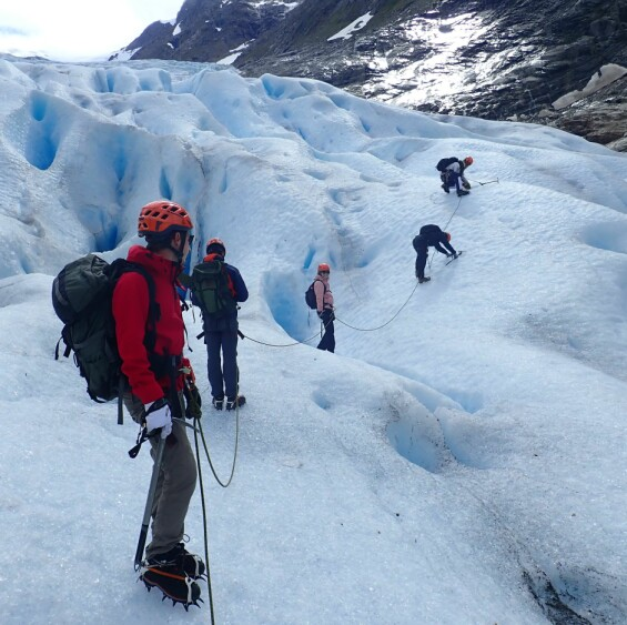 On the glacier. And getting off again!!