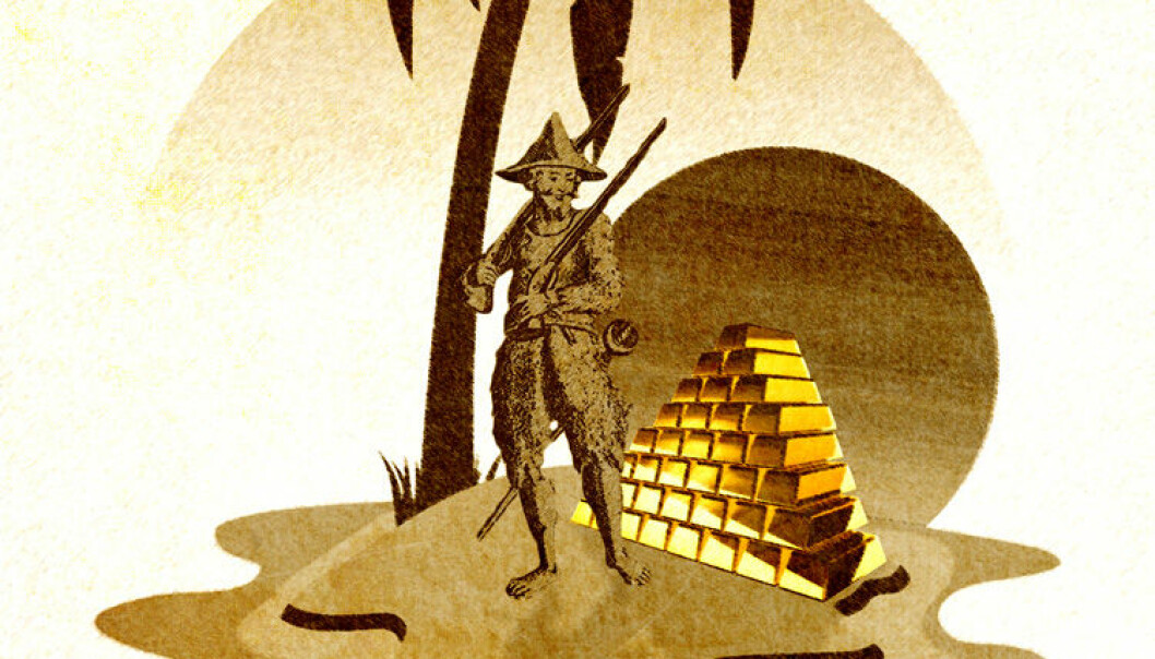 If Robinson Crusoe discovered a pile of gold on his island and suddenly became rich, it wouldn't help him at all without any labour force to work for him. (Illustration: Colourbox/Wikimedia)