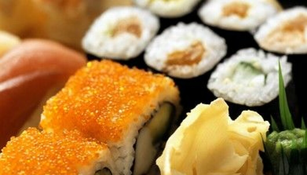 Sushi originates from Japan and consists of boiled rice mixed with special vinegar and various toppings, usually different types of raw fish. (Photo: Colourbox)
