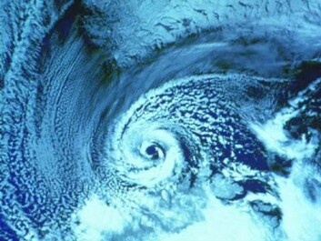 Notice the cyclone shape as a polar low-pressure system hits the coast of Finnmark, Norway's northernmost county. At the top of the photo, the southern tip of Svalbard is visible. (Photo: Wikimedia Commons)