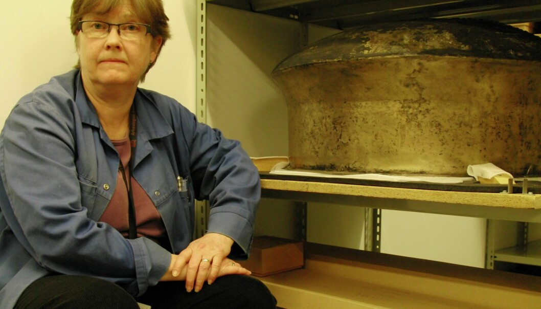 The bronze cooking pot is the next biggest of its kind in Norway and is now in storage in the basement of Stavanger's Museum of Archaeology. (Photo: Bjørnar Kjensli)