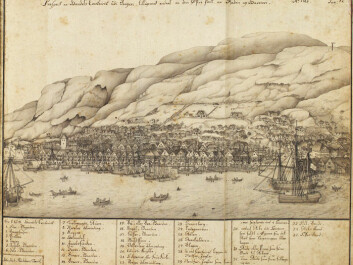 The old quayside Bryggen in Bergen was a hub for the Hanseatic League in Norway. Drawing by Johan Joachim Reichborn in 1768. (Photo: Wikimedia Commons)