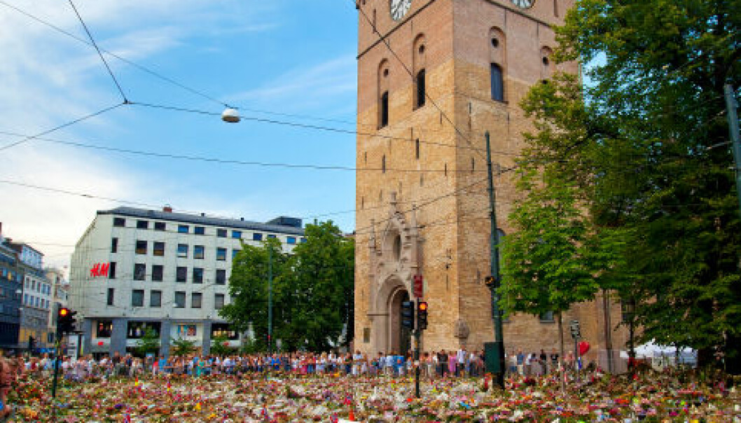 Oslo, 31 July 2011: The grounds and street outside the Oslo Cathedral when covered in a sea of flowers nine days after a lone terrorist's bombing of government buildings and shooting rampage that killed 77 persons. (Photo: iStockphoto)