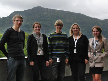 The research group with a focus on geothermal energy at Christian Michelsen Research. From left: Knut-Erland Brun, Inga Berre, Jan Kocbach, Ranveig Bjørk and Anna Sandvin. The mountain Løvstakken is in the background. (Photo: Arnfinn Christensen)