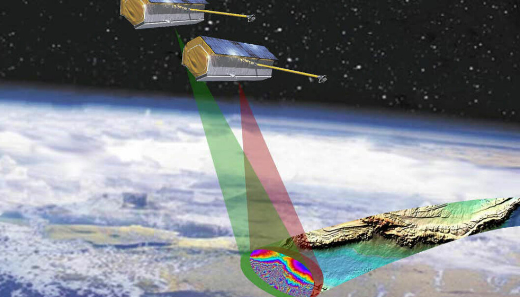 The twin satellites TerraSAR-X and TanDEM-X orbit just a few hundred metres from each other. Together their two radar antennas can create three-dimensional images of the Earth's surface in great detail.  (Illustration: Astrium)