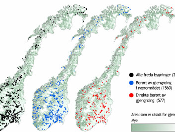 Black dots represent protected buildings linked with agriculture and fisheries. The green-white colouring indicates land within five square kilometre spaces that are becoming overgrown. Blue dots indicate such growth in close proximity and red dots such sites that are being overgrown. (Figure: Anders Bryn)