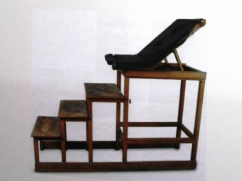 A chair used in gynaecological examinations back in the day. Women sat in these during the mandatory visitations. (Photo: Marianne Nordahl. The photo used in the exhibition is on loan from the National Museum of Justice, Norway)