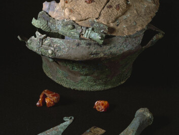 Items excavated from the burial mound in Lusehøj: the bronze urn and items made of bronze and amber. (Photo: The National museum of Denmark)