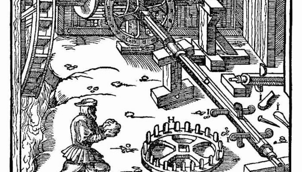 This drawing illustrates how power from a waterwheel can be connected to a shaft. The shaft could then be connected to and operate a bellows in a smelter. From the work De Re Metallica, written by Georgius Agricola and printed in 1556. The drawing shows a section of a larger and more advanced smelting works than the one apparently used in Norway two or three centuries earlier. (Source: Project Gutenberg)