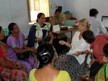 Kristin Braa with health workers in Rajahstan, India. (Photo: Ime Asangansi)