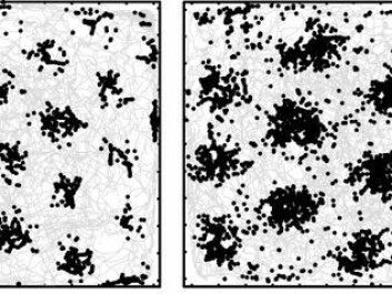 The entorhinal cortex is a part of the neocortex that represents space by way of brain cells that have GPS-like properties. Each cell describes the environment as a hexagonal grid mesh, earning them the name 'grid cells'. The panels show a bird's-eye view of a rat's recorded movements (grey trace) in a 2.2x2.2 m box. Each panel shows the activity of one grid cell (black dots) with a particular map resolution as the animal moved through the environment. (the Kavli Institute)