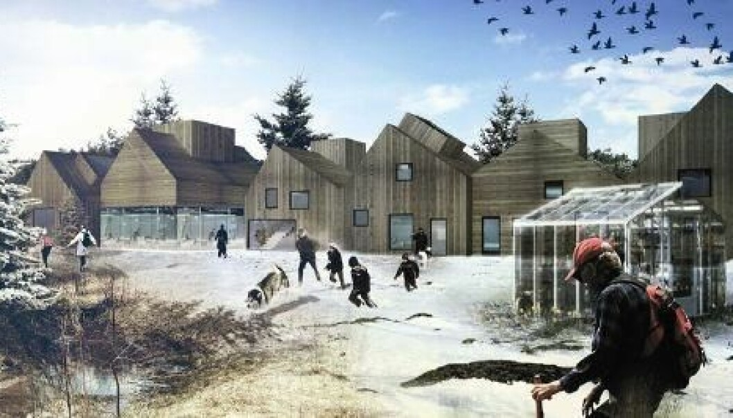 One of the architectural proposals for the future Brøset District – in winter. (Illustration: SLA)