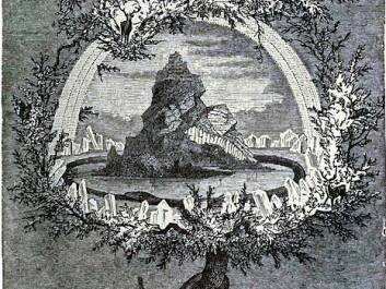 Yggdrasil, the cosmological sacred tree which was supposed to contain all the nine worlds of Norse mythology, as depicted by Friedrich Wilhelm Heine in 1886. (Wikimedia Commons)