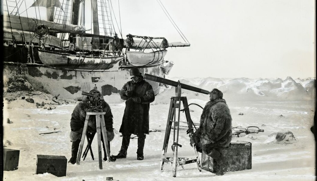 Nansen's observations from the Arctic provide some of the earliest data points for researchers now studying rapid changes in the polar regions. Here,from left, Hjalmar Johansen, Fridtjof Nansen and Sigurd Scott Hansen make observations during a solar eclipse, 6 April 1894. (Photo: Unknown photographer/from the Norwegian National Library, bldsa_q3c035)