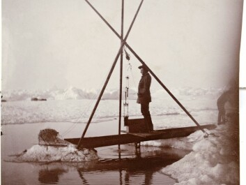 Fridtjof Nansen measures water temperatures from the depths of the Arctic Ocean, 12 July 1894. Nansen's historical measurements are critical to today's researchers, who are trying to understand how ocean currents and temperatures have changed over time -- and will change due to global warming. (Credit: Unknown photographer/from the Norwegian National Library, bldsa_3c060.)