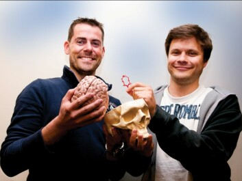 Kristian Valen-Sendstad (left) and Kent-Andre Mardal have developed a simulation model that measures how turbulence in the blood stream creates brain aneurisms. The model can be used to decide whether an aneurism should be surgically removed or not. Most aneurisms appear close to the blood vessel circuit in the brain, which is illustrated by the red ring Mardal is holding. (Photo: Yngve Vogt)