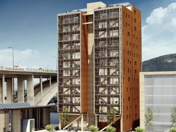 A 14-storey wood house is rising in Bergen which will be the world's tallest of its kind. Most new wooden buildings in urban areas will probably be lower, maxing at eight storeys.  (Photo: BOB/Artec)