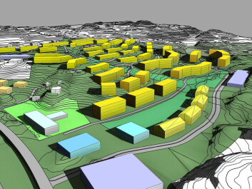 Larger housing projects are also underway. Some 500-800 environmentally friendly housing units are being planned for Ådland in Blomsterdalen, a Bergen suburb. The goal is zero emissions for the units during their operational lifetime. As shown, this project is still in the planning stage. (Illustration: Norconsult)