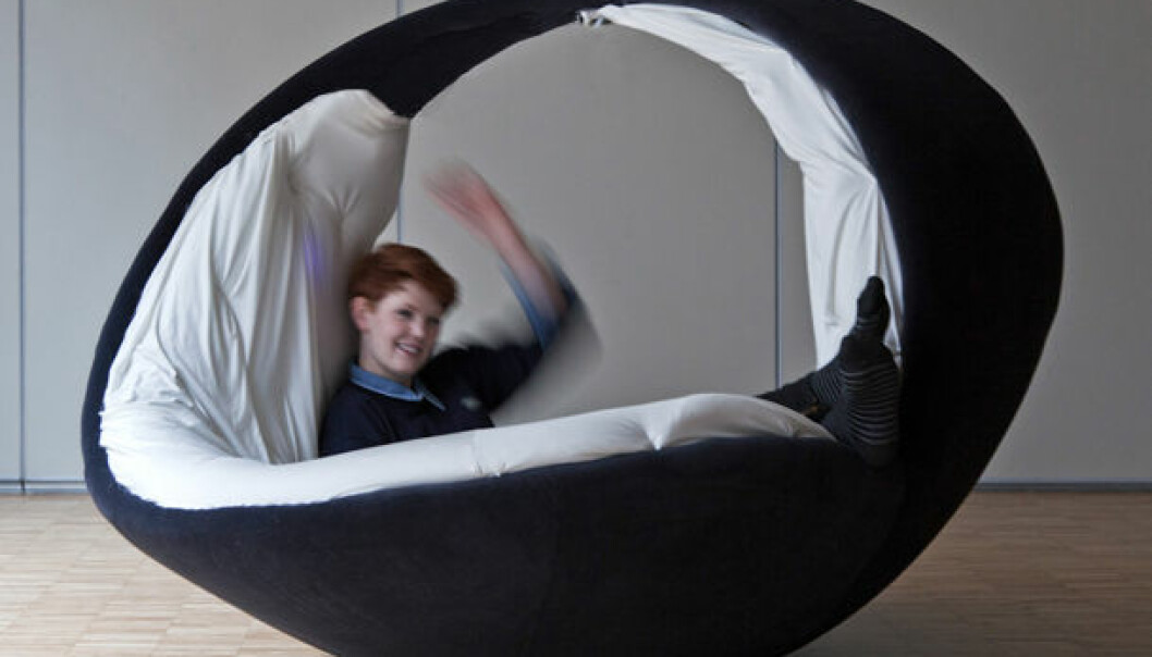Unn's favourite − an egg-shaped piece of furniture, here being tested by a project member. (Photo: Rhyme.no)