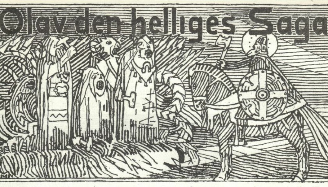 A picture by Gerhard Munthe from the 1899 version of St. Olav's saga in the book Heimskringla. Archaeologists have been tantalized for decades by the mentions in the sagas about a large trading town outside of Trondheim. (Photo: Wikimedia Commons)