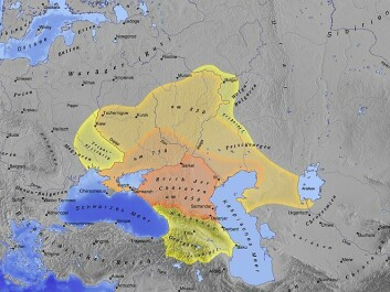The coloured area indicates the Khazars' territory, one of the regions where travelling Arab writers describe having met Vikings. (Image: Wikimedia Creative Commons)