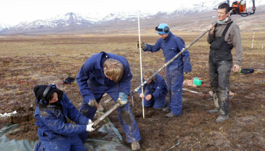 University of Copenhagen Professor Bo Elberling (right) and University Centre in Svalbard students collect core samples of permafrost at Zackenberg, in Northeastern Greenland. (Photo: Hanne C. Christiansen/UNIS)