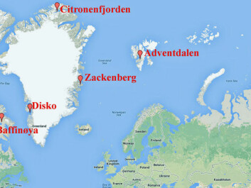 The study is based on soil samples from several Arctic spots. (Map: Google Maps/Graphics by forskning.no)