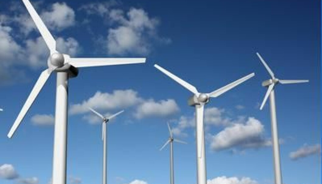 Surplus wind power from periods of strong winds currenlty cannot be stored to compensate for calm spells. This could be rectified if scientists succeed in developing large batteries based on liquid metal. (Photo: Colourbox)