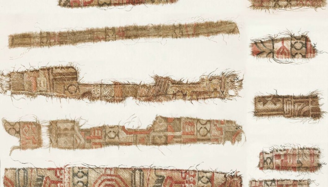 Silk textiles from the Persian region were found in the Oseberg ship. Among the motifs, we can see parts of special birds associated with Persian mythology, combined with clover-leaf axes, a Zoroastrian symbol taken from the Zodiac. The textiles have been cut into thin strips and used for adornment on clothing. Similar strips have also been found in other Viking Age burial sites.