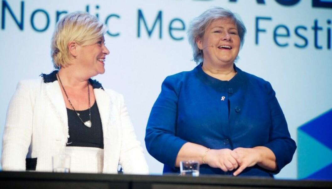Norway's Prime Minister, Erna Solberg and Minister for Finance, Siv Jensen . (Photo: Eirik Helland Urke, flickr.com)