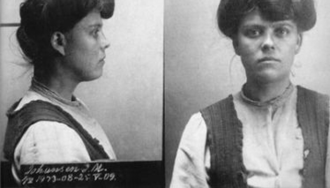 """Mug shot of a prisoner from the early 1900s. The woman in the photo, Johanne Margrethe, was described as a """"prostitute, thief, brutal, violent"""". Female criminals comprised the largest group of women in the Norwegian media in 1913. (Photo: Norwegian National Museum of Justice)"""