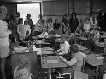 Enthusiastic pupils and proud parents and siblings on the first day of school for first graders at Ammerud School in Oslo, August 1971. These pupils were among the first to be facing nine years of compulsory education, following a reform which was implemented nationwide in Norway in 1960. (Photo: NTB Scanpix)