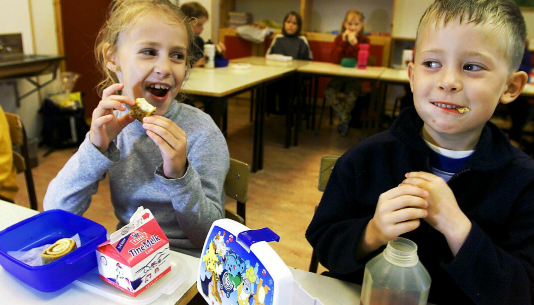 The pupils in Norwegian schools have less time to eat.  (Photo: Ole Åsheim, Samfoto)