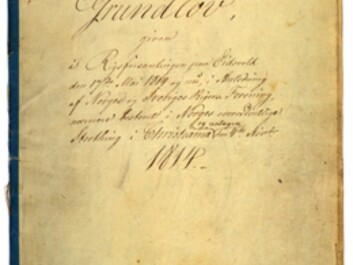 The Constitution of the Kingdom of Norway of 4 November 1814. (Photo: Archives of the Storting)