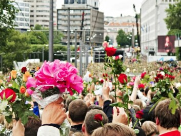 Tens of thousands expressed their solidarity, sympathy and support for the victims of the terrorist attack three days later in a the so-called rose parade, a spontaneous demonstration in downtown Oslo on 25 July 2011. (Photo: Trond J. Strøm/Aftenposten)
