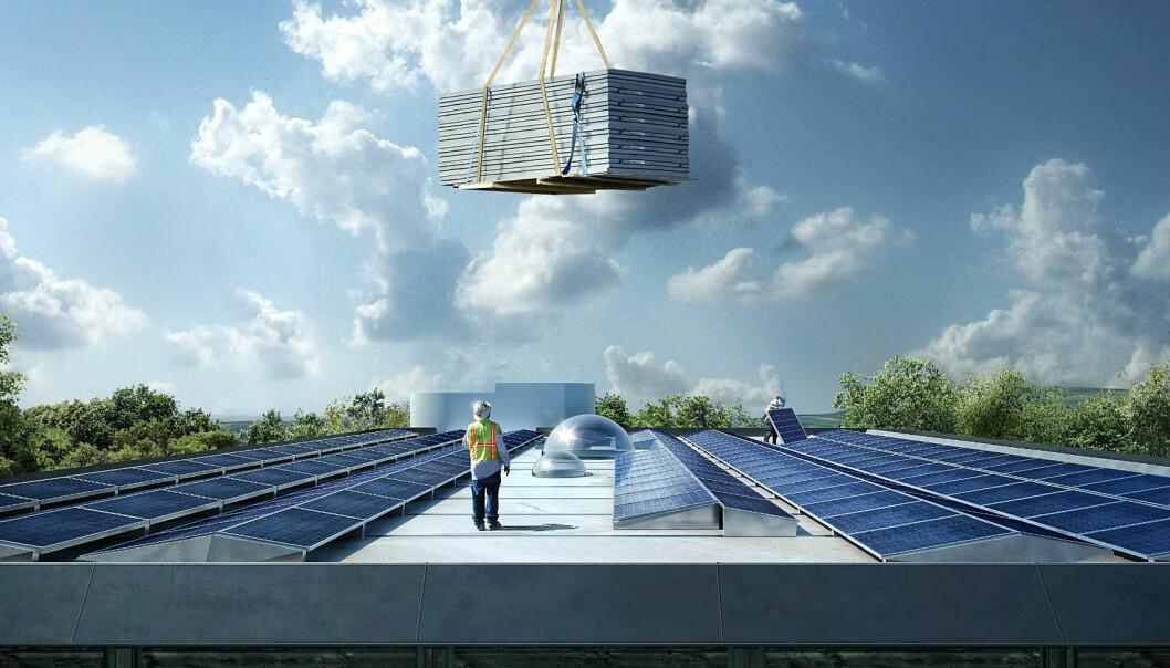 Solar cells on the roof will make Powerhouse Kjørbo in Sandvika self-sufficient in electricity. (Illustration: Snøhetta/MIR)