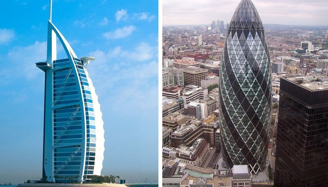 "The Burj Al Arab Hotel in Dubai and 30 ST Mary Axe, better known as ""the Gherkin"", in London. (Photos: left – Joi Ito, Creative Commons, right – Paste, Wikimedia Commons)"