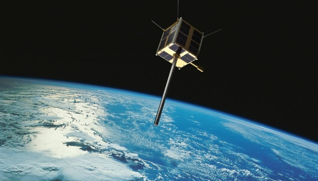 AISSat 1 and 2 have orbits from pole to pole. This enables them to cover the entire planet as it rotates beneath them. The poles are covered by each orbit, which takes about 100 minutes. (Image: Norwegian Space Centre/FFI/NASA)