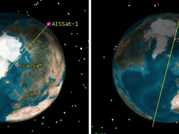 AISSat-1 and 2 orbit the Earth nearly from pole to pole. They maintain an elevation of approximately 630 kilometres. The area seen from this vantage point has a radius of up to 3,000 km. The image shows how the orbits can vary. The SvalSat tracking station on Svalbard is also marked. (Graphics: The Norwegian Defence Research Establishment)
