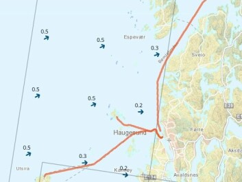 "Ordinary users of pleasure craft and professional navigators can now get exact warnings about waves along the Norwegian coast. This is a warning for the area offshore from Haugesund where ""Sleipner"" met disaster in 1999. The warnings are issued for eight important and commonly used charted routes and the waters around them. (Facsimile from Barentswatch)"