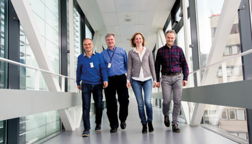 Harald Holte (from left), Erlend Smeland, Marianne Brodtkorb and Ole Christian Lingjærde have developed a new statistical method that can predict when lymphoma will become aggressive. Photo: Yngve Vogt