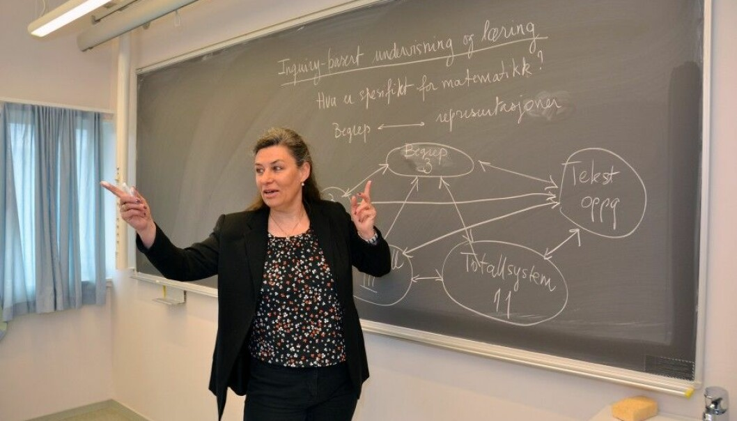 Claire Vaugelade Berg has developed a course in which students act as both teachers and researchers. This will make them more aware of how pupils think when working with mathematics. (Photo: Jan Arve Olsen, UiA)