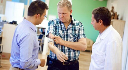 Brain-controlled prosthetic arm connected to nerves