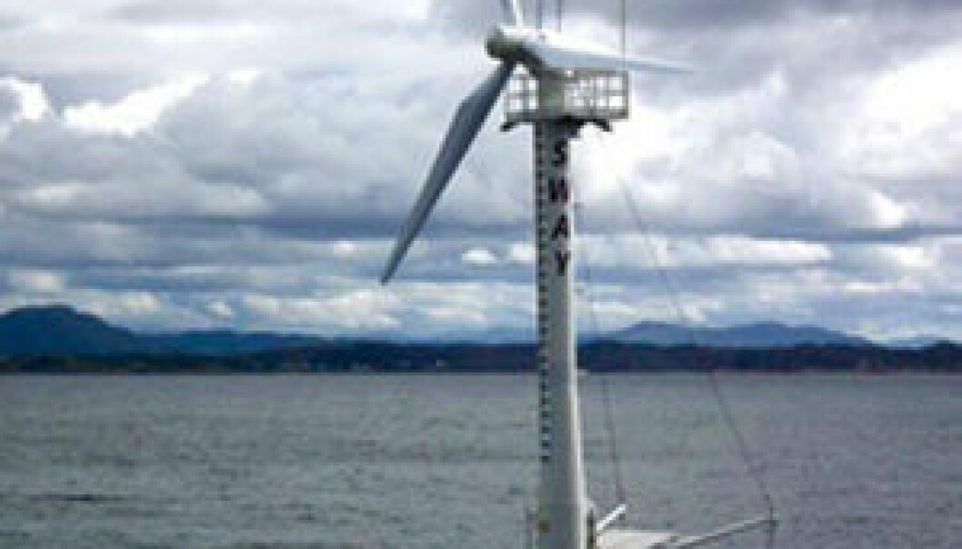 Sway's 1/6-scale prototype features a partially submerged 30-m tower and a rotor diameter of 14 m. Until recently it operated off the island municipality of Øygarden in western Norway. (Photo: Sway)