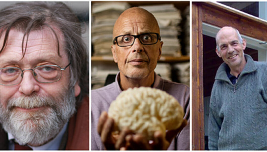 The winners of the Research Council awards for 2014: Professor Frank Aarebrot, Professor Kenneth Hugdahl and Svein Kvalvik of Polybait AS. (Photo: Jarle Vines/Eivind Senneset, University of Bergen/private) (Photo: Jarle Vines/Eivind Senneset, UiB/Privat)