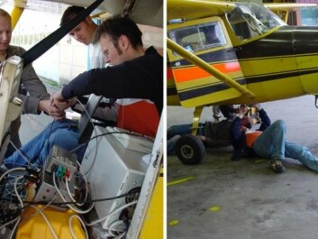 The first test flights required plenty of improvisation. On the left, from the left: Ivar Baarstad og Pål Erik Goa. (Photo: Torbjørn Skauli, FFI)