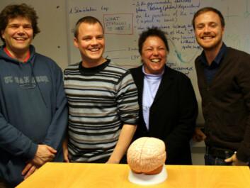 From left: Professor Gaute Einevoll, researcher Klas Pettersen, dr Sonja Grün og former PhD-student at UMB, Henrik Lidén (Photo: Trond Solem)