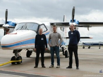 In September 2013 a newly developed hyperspectral camera was flown over Bordeaux. From left Torbjørn Skauli (FFI), Trond Løke and Søren Blaaberg (NEO). (Photo: DGA )